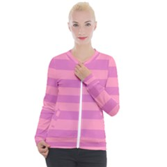 Pink Stripes Striped Design Pattern Casual Zip Up Jacket