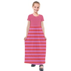 Stripes Striped Design Pattern Kids  Short Sleeve Maxi Dress by Sapixe