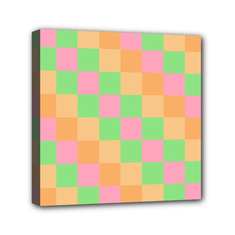Checkerboard Pastel Squares Mini Canvas 6  X 6  (stretched) by Sapixe