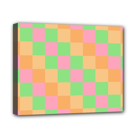 Checkerboard Pastel Squares Canvas 10  X 8  (stretched) by Sapixe