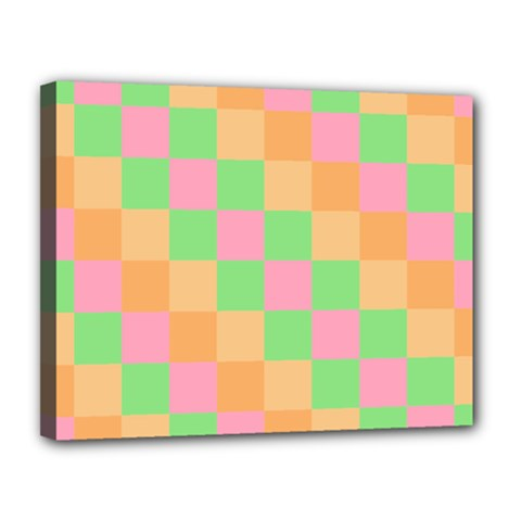 Checkerboard Pastel Squares Canvas 14  X 11  (stretched) by Sapixe