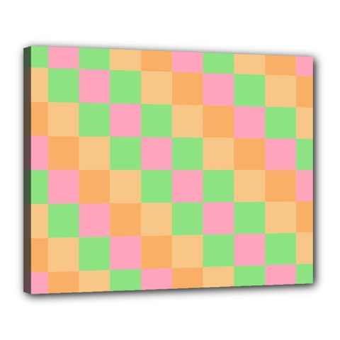 Checkerboard Pastel Squares Canvas 20  X 16  (stretched) by Sapixe
