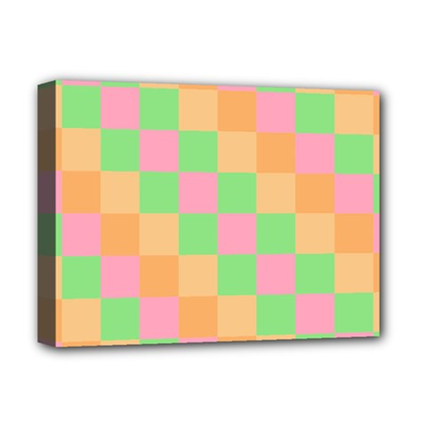 Checkerboard Pastel Squares Deluxe Canvas 16  X 12  (stretched)  by Sapixe