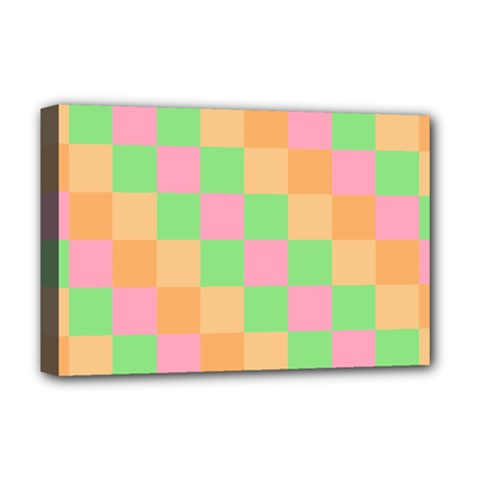 Checkerboard Pastel Squares Deluxe Canvas 18  X 12  (stretched) by Sapixe