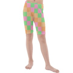 Checkerboard Pastel Squares Kids  Mid Length Swim Shorts by Sapixe