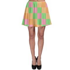Checkerboard Pastel Squares Skater Skirt by Sapixe