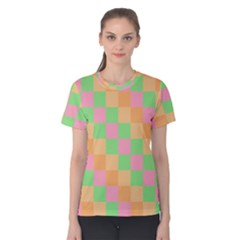 Checkerboard Pastel Squares Women s Cotton Tee by Sapixe