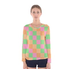 Checkerboard Pastel Squares Women s Long Sleeve Tee by Sapixe