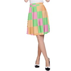 Checkerboard Pastel Squares A-line Skirt by Sapixe