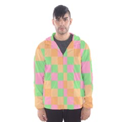 Checkerboard Pastel Squares Men s Hooded Windbreaker by Sapixe