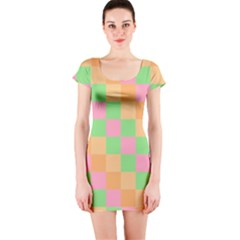 Checkerboard Pastel Squares Short Sleeve Bodycon Dress by Sapixe
