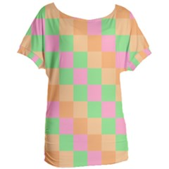 Checkerboard Pastel Squares Women s Oversized Tee by Sapixe