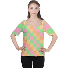 Checkerboard Pastel Squares Cutout Shoulder Tee by Sapixe