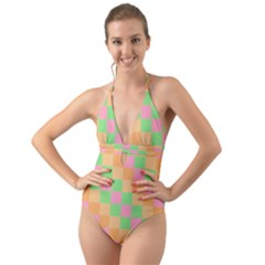 Checkerboard Pastel Squares Halter Cut Out One Piece Swimsuit by Sapixe