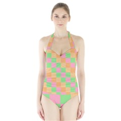 Checkerboard Pastel Squares Halter Swimsuit by Sapixe