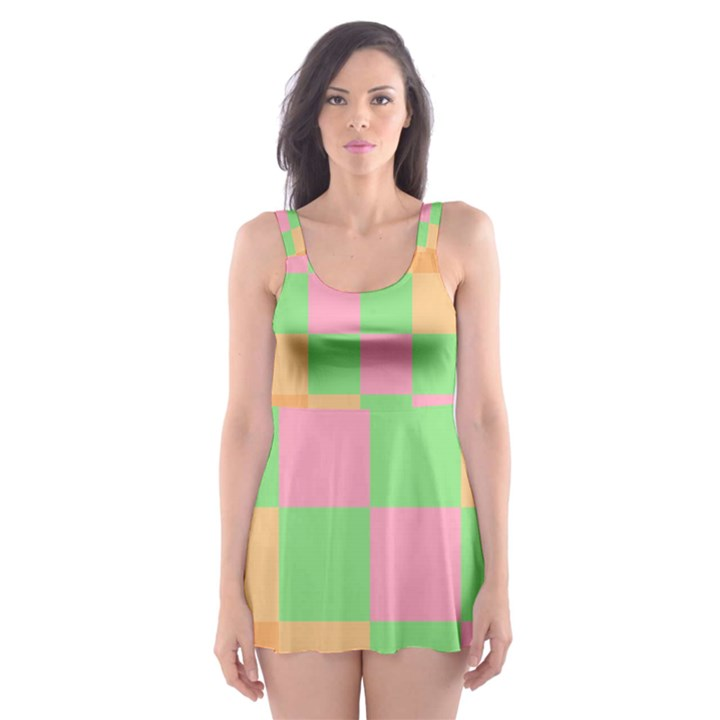 Checkerboard Pastel Squares Skater Dress Swimsuit