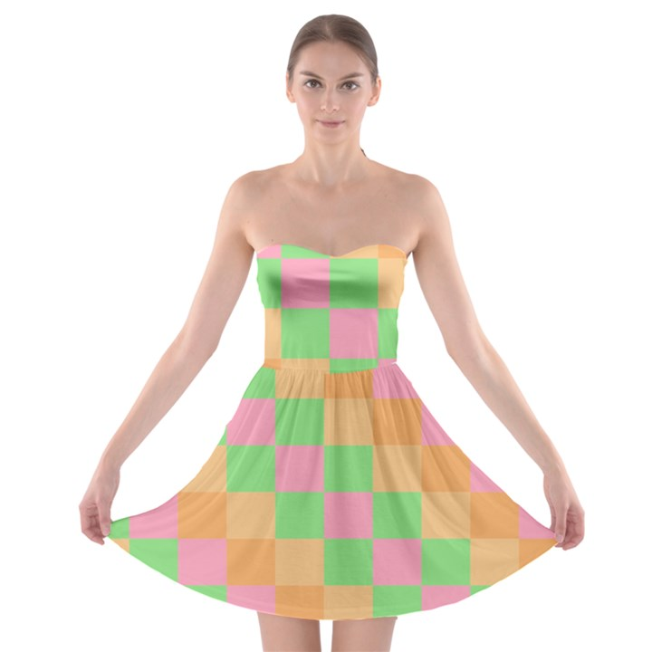 Checkerboard Pastel Squares Strapless Bra Top Dress