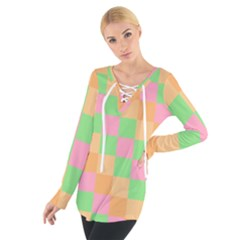 Checkerboard Pastel Squares Tie Up Tee by Sapixe