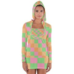Checkerboard Pastel Squares Long Sleeve Hooded T Shirt by Sapixe