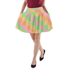 Checkerboard Pastel Squares A Line Pocket Skirt