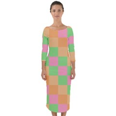Checkerboard Pastel Squares Quarter Sleeve Midi Bodycon Dress by Sapixe
