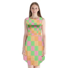 Checkerboard Pastel Squares Sleeveless Chiffon Dress   by Sapixe