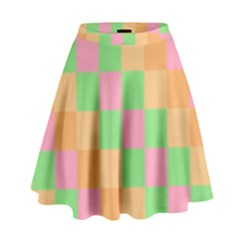 Checkerboard Pastel Squares High Waist Skirt by Sapixe