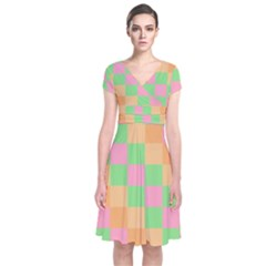 Checkerboard Pastel Squares Short Sleeve Front Wrap Dress