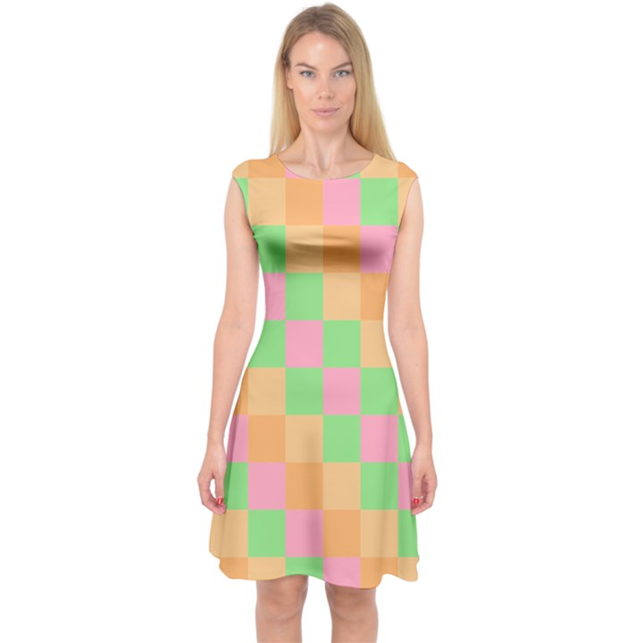 Checkerboard Pastel Squares Capsleeve Midi Dress