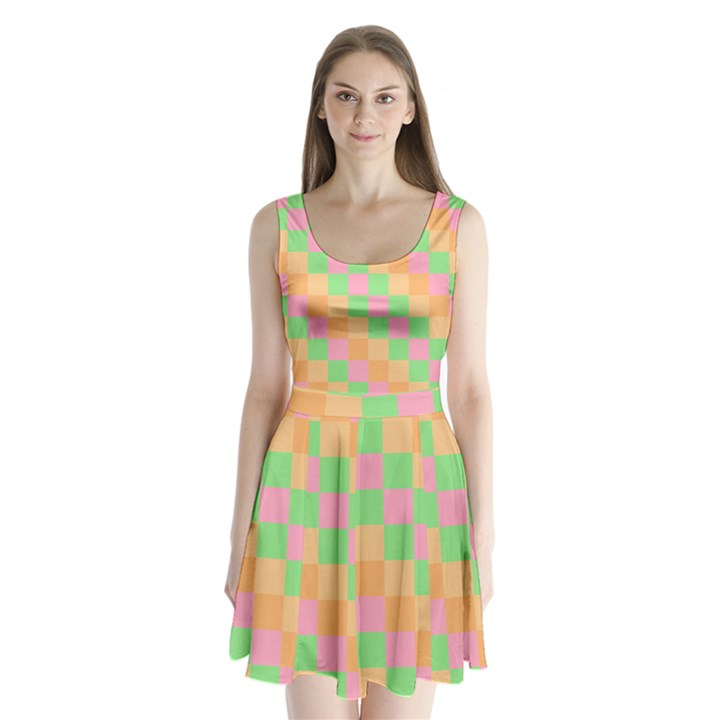 Checkerboard Pastel Squares Split Back Mini Dress