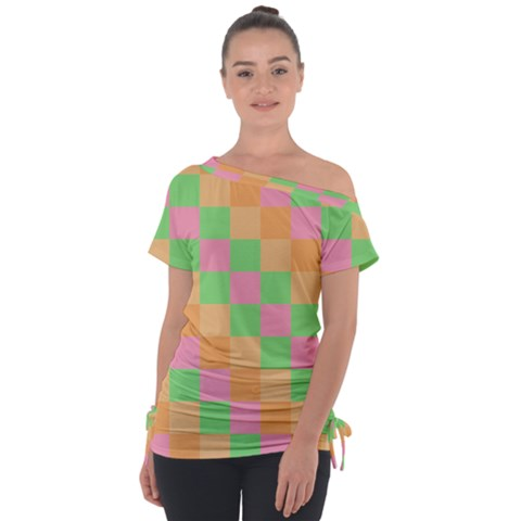 Checkerboard Pastel Squares Tie-up Tee by Sapixe