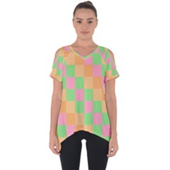Checkerboard Pastel Squares Cut Out Side Drop Tee by Sapixe