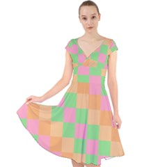 Checkerboard Pastel Squares Cap Sleeve Front Wrap Midi Dress