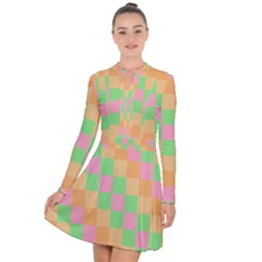 Checkerboard Pastel Squares Long Sleeve Panel Dress