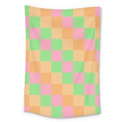 Checkerboard Pastel Squares Large Tapestry