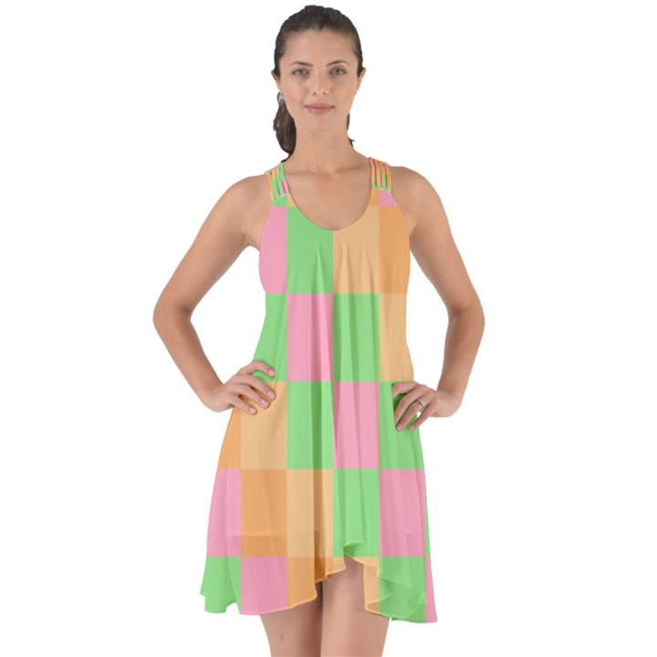 Checkerboard Pastel Squares Show Some Back Chiffon Dress