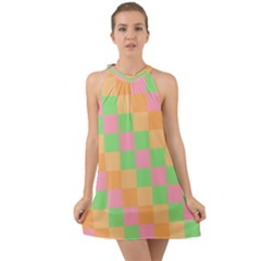Checkerboard Pastel Squares Halter Tie Back Chiffon Dress