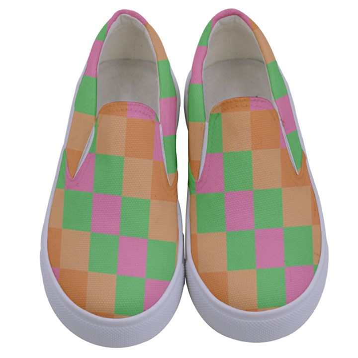 Checkerboard Pastel Squares Kids  Canvas Slip Ons