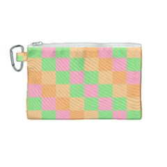 Checkerboard Pastel Squares Canvas Cosmetic Bag (medium) by Sapixe