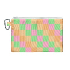 Checkerboard Pastel Squares Canvas Cosmetic Bag (large) by Sapixe