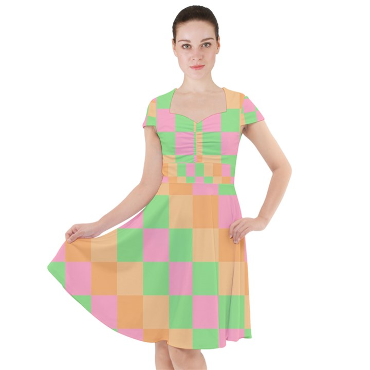 Checkerboard Pastel Squares Cap Sleeve Midi Dress