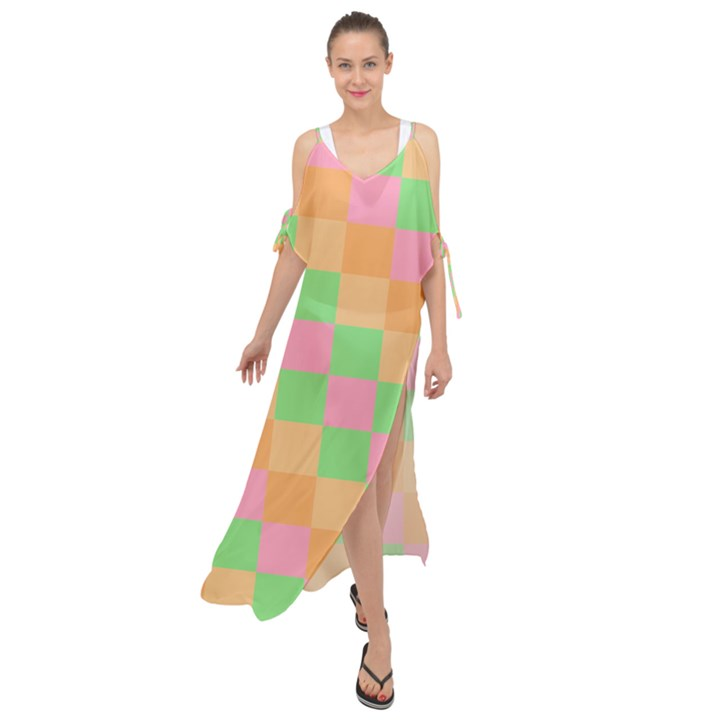 Checkerboard Pastel Squares Maxi Chiffon Cover Up Dress