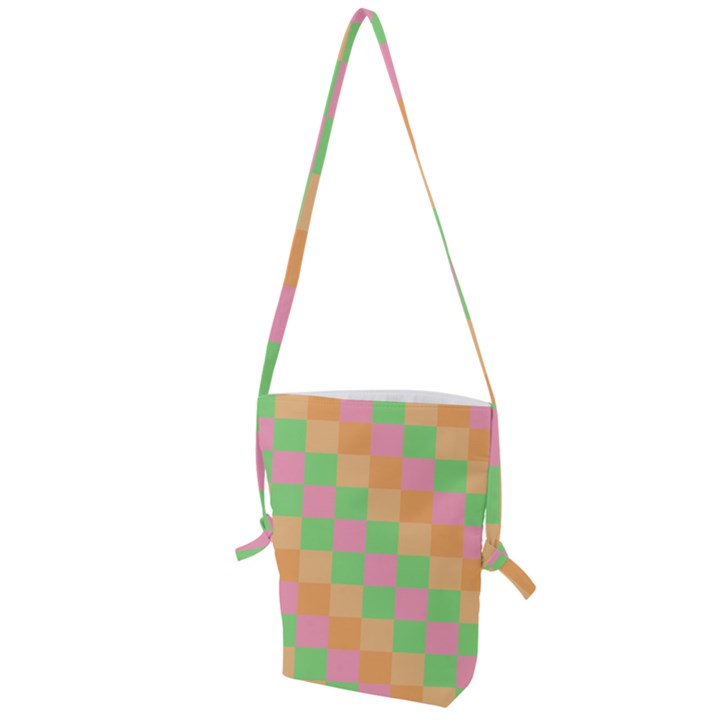 Checkerboard Pastel Squares Folding Shoulder Bag