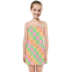 Checkerboard Pastel Squares Kids  Summer Sun Dress