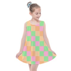 Checkerboard Pastel Squares Kids  Summer Dress