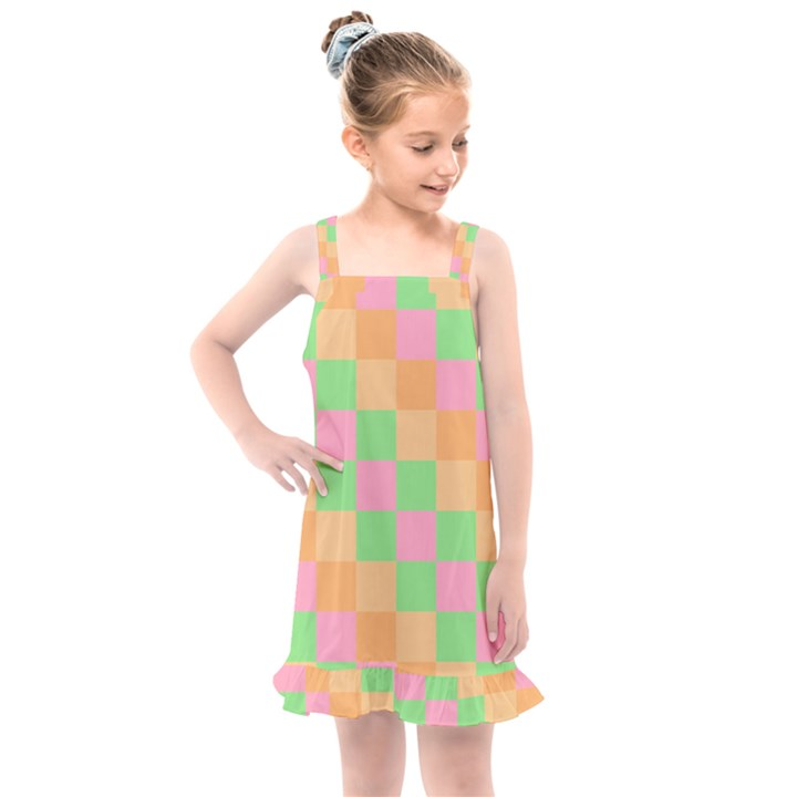 Checkerboard Pastel Squares Kids  Overall Dress