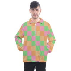 Checkerboard Pastel Squares Men s Half Zip Pullover
