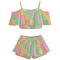 Checkerboard Pastel Squares Kids  Off Shoulder Skirt Bikini