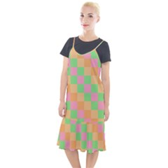 Checkerboard Pastel Squares Camis Fishtail Dress
