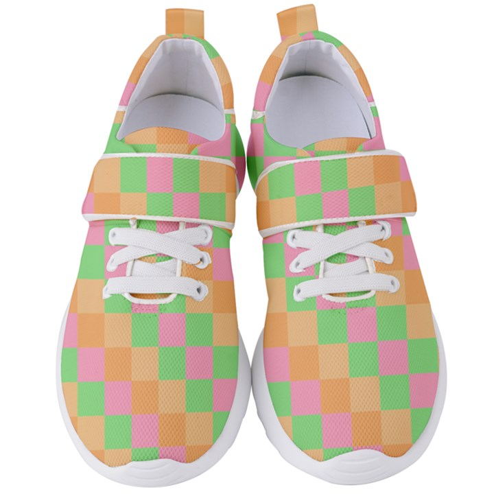 Checkerboard Pastel Squares Women s Velcro Strap Shoes